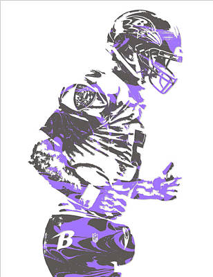 Raven Mixed Media - Joe Flacco Baltimore Ravens Pixel Art 8 by Joe Hamilton