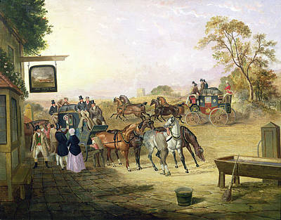 English Horse Painting - Joe Fry's Inn  by Anson A Martin