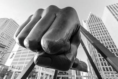 Photograph - Joe Louis Fist Black And White Detroit  by John McGraw