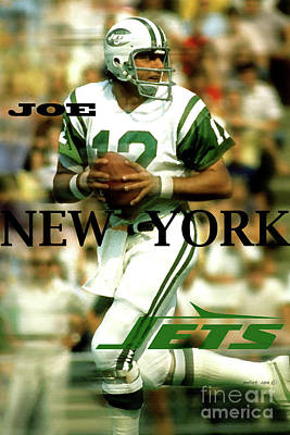 Derek Jeter Mixed Media - Joe Namath, Broadway Joe, New York Jets by Thomas Pollart