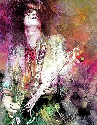 Steven Tyler Mixed Media - Joe Perry Aerosmith by Mal Bray