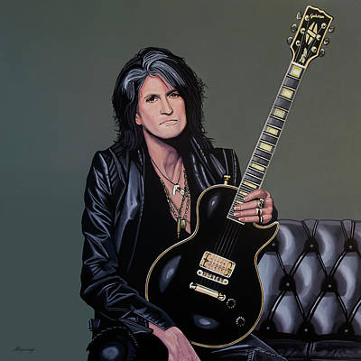 Gibson Painting - Joe Perry Of Aerosmith Painting by Paul Meijering