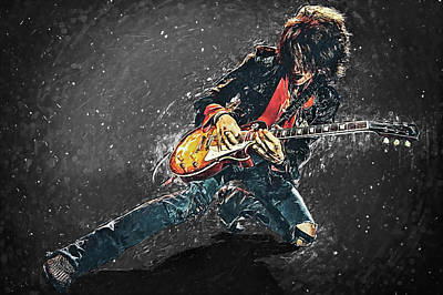 Steven Tyler Digital Art - Joe Perry by Taylan Apukovska