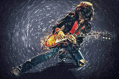 Music Digital Art - Joe Perry by Taylan Apukovska