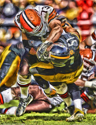Mixed Media - Joe Thomas Cleveland Browns Oil Painting by Joe Hamilton