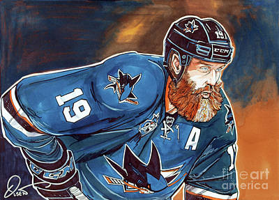 Nhl Hockey Drawing - Joe Thornton by Dave Olsen