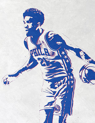 Basket Ball Mixed Media - Joel Embiid Philadelphia Sixers Pixel Art by Joe Hamilton