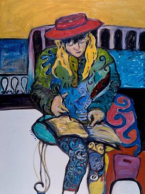 Painting - Joelle Reading The Scriptures by Mykul Anjelo