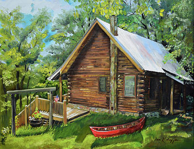 Painting - Joe's Cabin And Red Canoe - Ellijay - North Ga Mtns by Jan Dappen