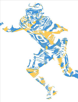 Joey Wall Art - Mixed Media - Joey Bosa Los Angeles Chargers Pixel Art by Joe Hamilton