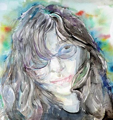 Painting - Joey Ramone - Watercolor Portrait by Fabrizio Cassetta