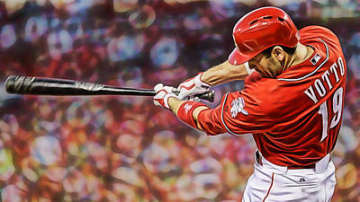 Joey Votto Baseball Art Print by Marvin Blaine