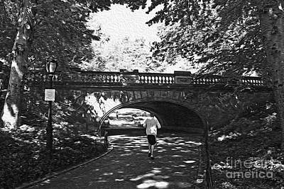 Jogging In Central Park Art Print by David Bearden