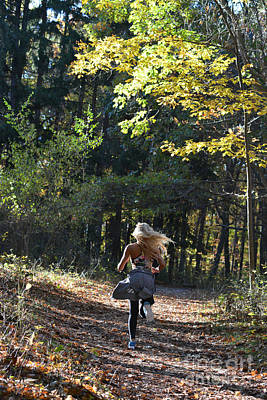 Photograph - Jogging In The Fall Running Down The Trail by Dan Friend