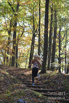 Photograph - Jogging In The Fall Up The Steps by Dan Friend
