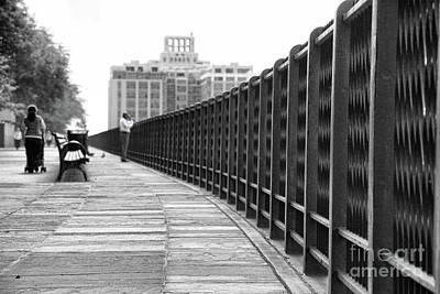 Photograph - Jogging Pathway Battery Park Bw by Chuck Kuhn