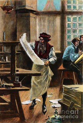 Drawing - Johann Gutenberg by Granger