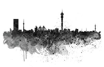 Modern Digital Art Digital Art Digital Art - Johannesburg Black And White Skyline by Marian Voicu
