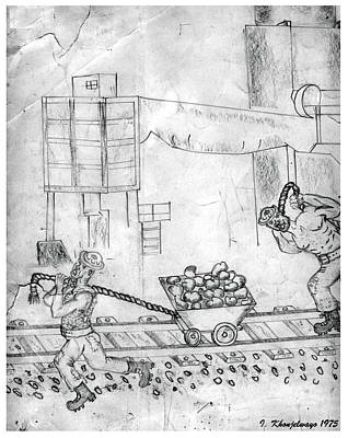 Drawing - Johannesburg Gold Mines Part 2 by Isaac Khonjelwayo