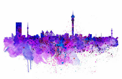 Africa Mixed Media - Johannesburg Skyline by Marian Voicu