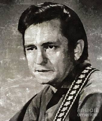 Jazz Royalty-Free and Rights-Managed Images - Johhny Cash Portrait by Mary Bassett
