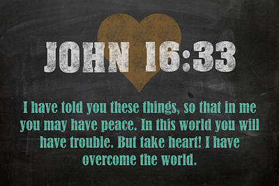 John 16 33 Inspirational Quote Bible Verses On Chalkboard Art Art Print by Design Turnpike