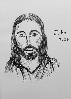 Drawing - John 3 16 by Victoria Lakes