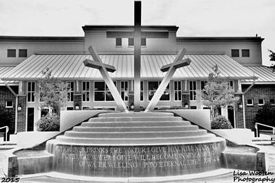 Photograph - John 4 14 Three Crosses Black And White by Lisa Wooten