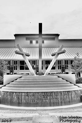 Photograph - John 4 14 Three Crosses Black And White Vertical by Lisa Wooten