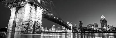 Photograph - John A. Roebling Bridge Cincinnati Skyline Panorama - Black And White by Gregory Ballos