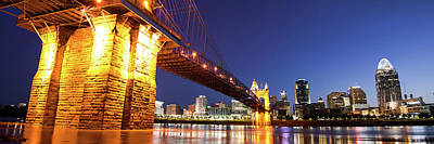 Photograph - John A. Roebling Bridge Cincinnati Skyline Panorama by Gregory Ballos