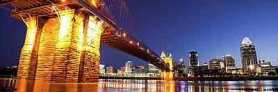 Photograph - John A. Roebling Bridge Cincinnati Skyline Panorama by Gregory Ballos