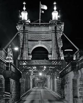Photograph - John A Roebling  Bridge Monochrome by Frozen in Time Fine Art Photography