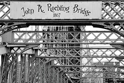 Photograph - John A. Roebling Bridge Up Close In Black And White by Gregory Ballos