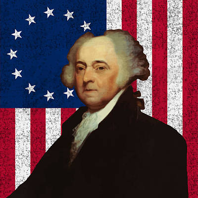 Landmarks Painting Royalty Free Images - John Adams and The American Flag Royalty-Free Image by War Is Hell Store