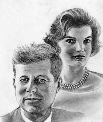 Camelot Drawing - John And Jackie Kennedy by Blackwater Studio