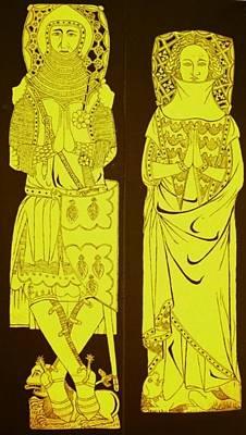 Brass Rubbing Tapestry - Textile - John And Joan De Northwood.jpg by William Streett