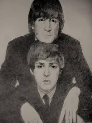 John Lennon Portrait Drawing - John And Paul by Glenn Daniels