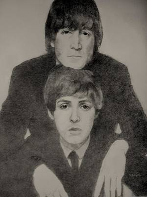 Mccartney Drawing - John And Paul by Glenn Daniels