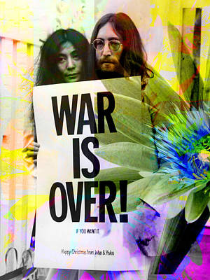 John And Yoko - War Is Over Art Print by Andrew Osta