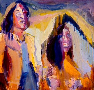 Painting - John And Yoko by Les Leffingwell