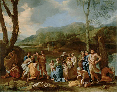 Baptizing Painting - John Baptizing In The River by Nicolas Poussin