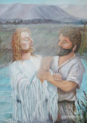 Painting - John Baptizing Jesus by Janna Columbus