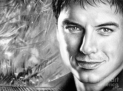 Dr. Who Wall Art - Drawing - John Barrowman Mbe Bw Version by Andrew Read