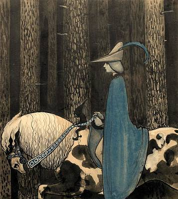 Beaches Painting - John Bauer, The Boy And Horse by Artistic Rifki