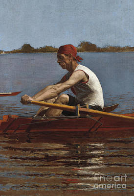Boats In Reflecting Water Painting - John Biglin In A Single Scull, 1874  by Thomas Cowperthwait Eakins