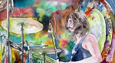 Painting - John Bonham - Watercolor Portrait.2 by Fabrizio Cassetta