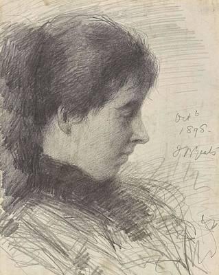 Christmas Trees - John Butler Yeats 1839-1922 PORTRAIT OF ELIZABETH CORBET LOLLY YEATS 2 by John Butler Yeats