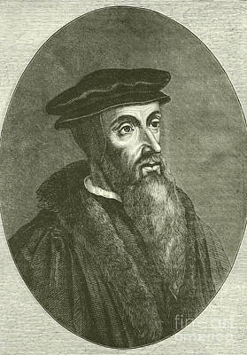 French Leaders Drawing - John Calvin by English School
