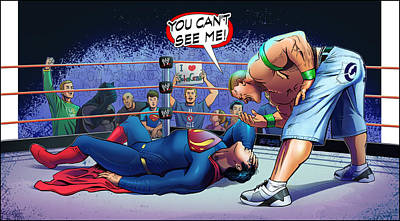 John Cena Vs Superman Art Print by Khaled Alsabouni